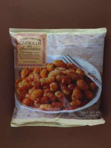 An unopened bag of Trader Joe's Gnocchi alla Sorrentina
