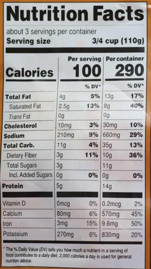 Trader Joe's Harvest Spaghetti Squash Spirals nutritional information