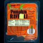 An unopened box of Trader Joe's Honey Roasted Pumpkin Ravioli