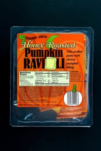 An unopened box of Trader Joe's Honey Roasted Pumpkin Ravioli