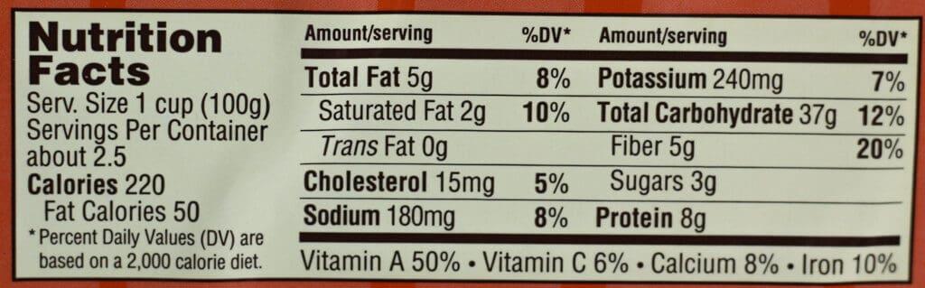 Nutritional information and calories for Trader Joe's Honey Roasted Pumpkin Ravioli