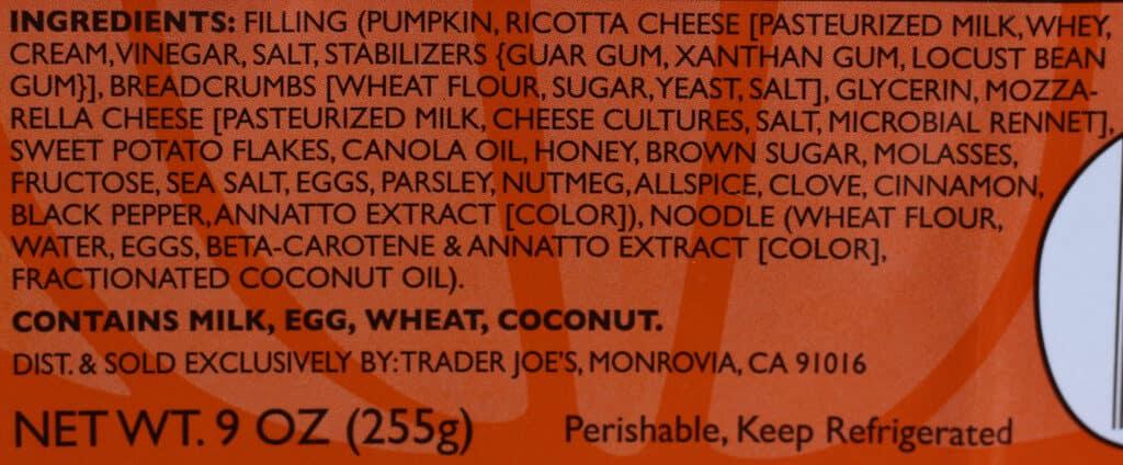 Ingredients in Trader Joe's Honey Roasted Pumpkin Ravioli
