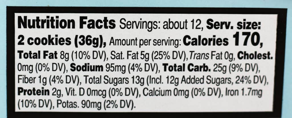 Trader Joe's Hot Cocoa Dunkers nutritional information