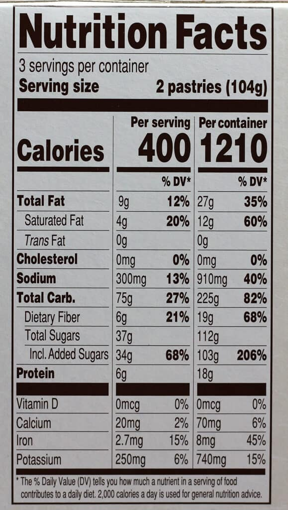 Trader Joe's Hot Cocoa Organic Frosted Toaster Pastries nutritional information