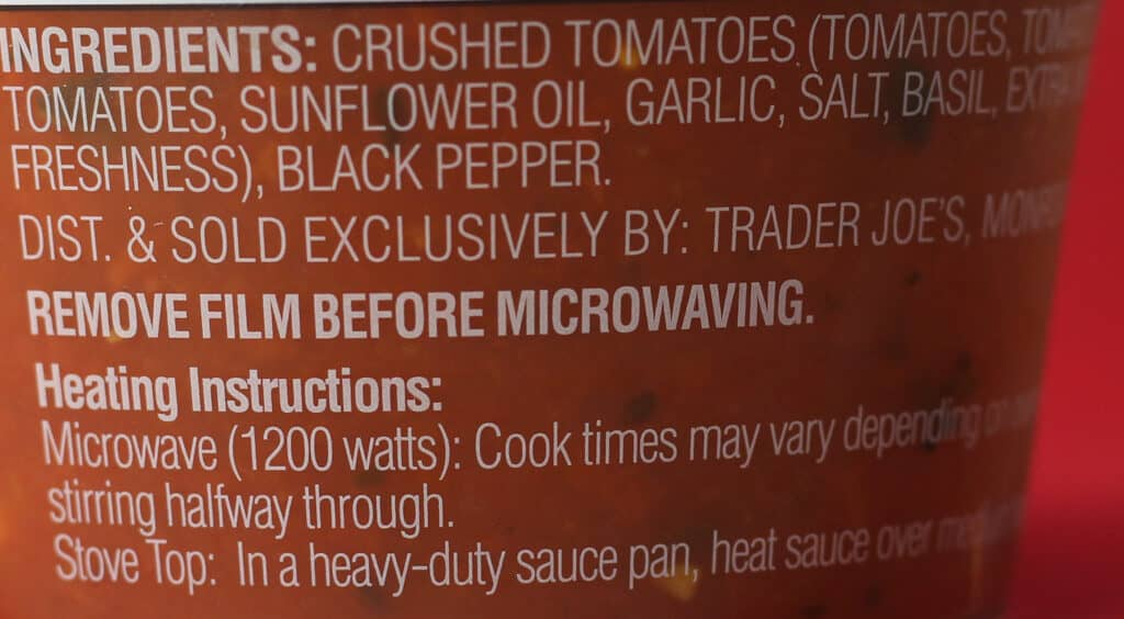 Trader Joe's Marinara Sauce ingredients