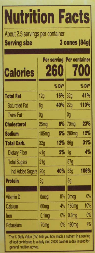 Trader Joe's Mini Hold the Cone Pumpkin Ginger Ice Cream Cones nutritional information