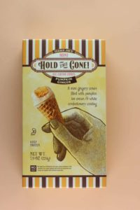 An unopened box of Trader Joe's Mini Hold the Cone Pumpkin Ginger Ice Cream Cones