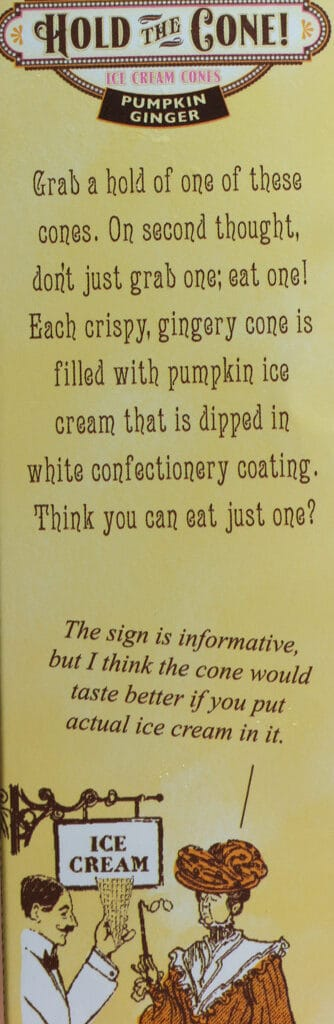 Trader Joe's Mini Hold the Cone Pumpkin Ginger Ice Cream Cones description on box