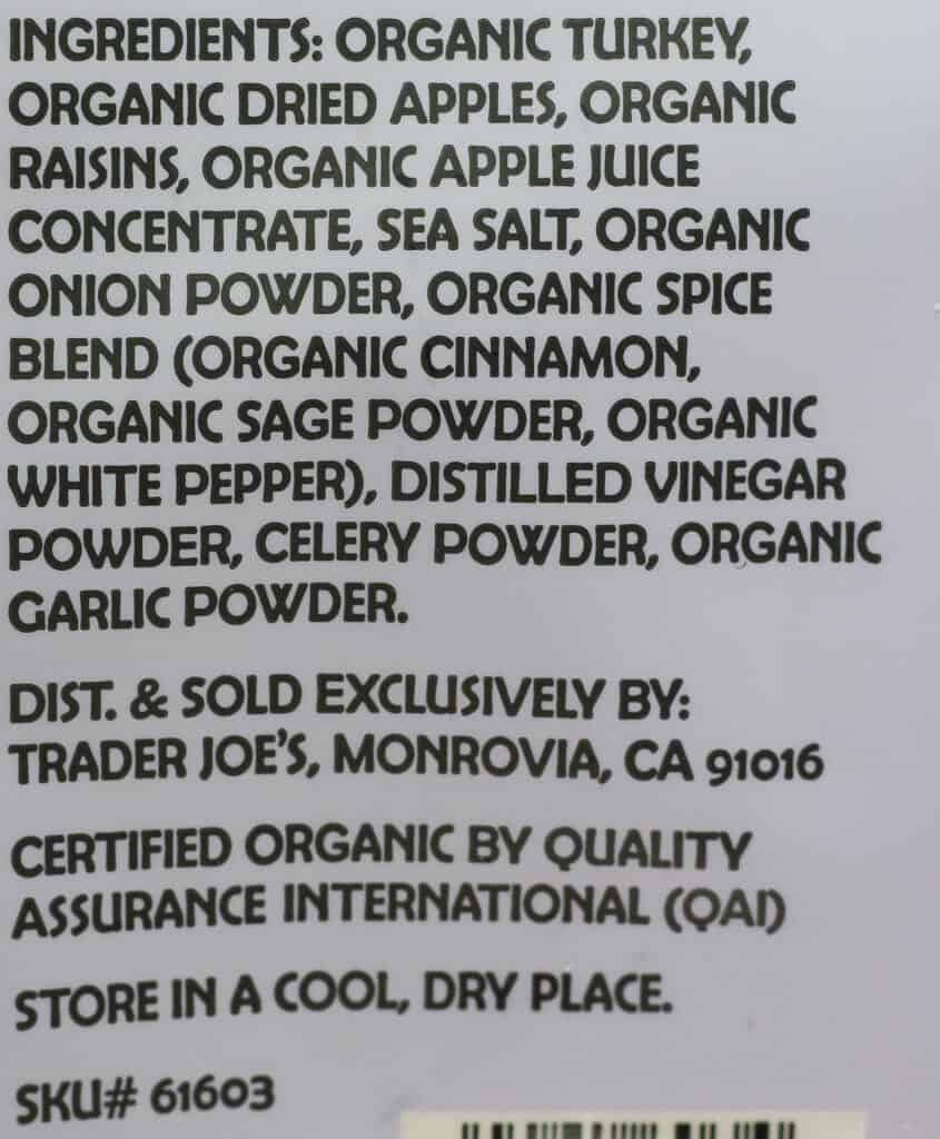 Trader Joe's Organic Turkey Bites ingredients