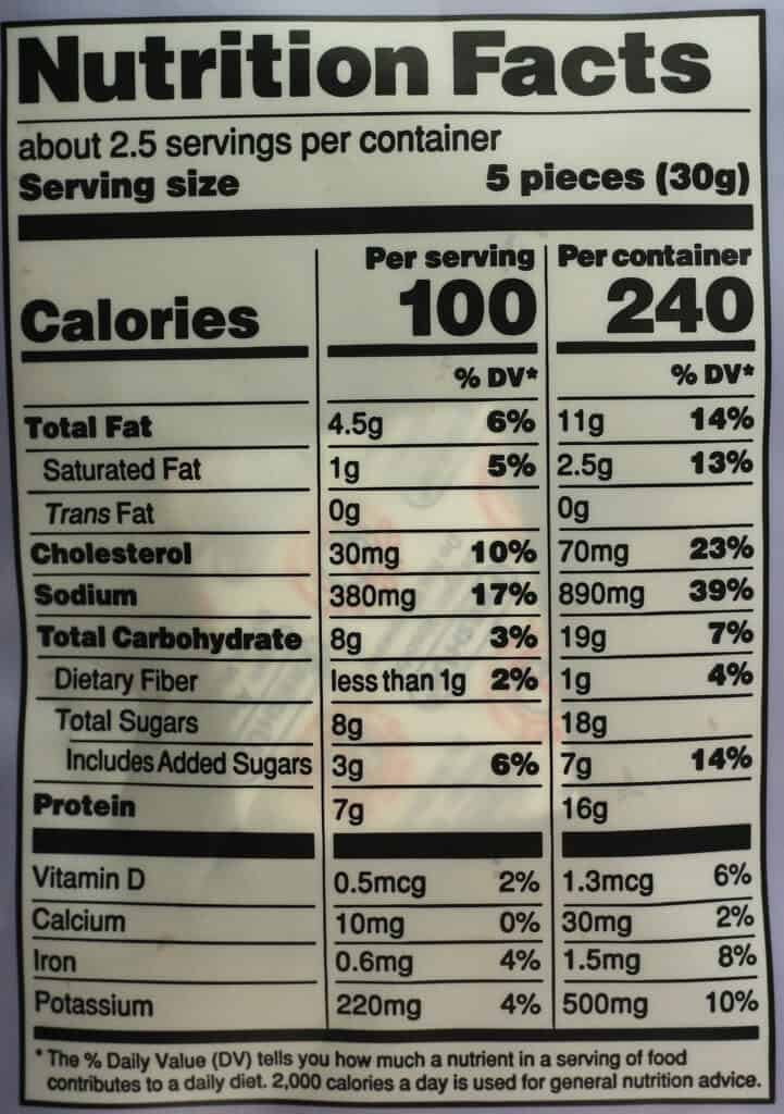 Trader Joe's Organic Turkey Bites nutritional information