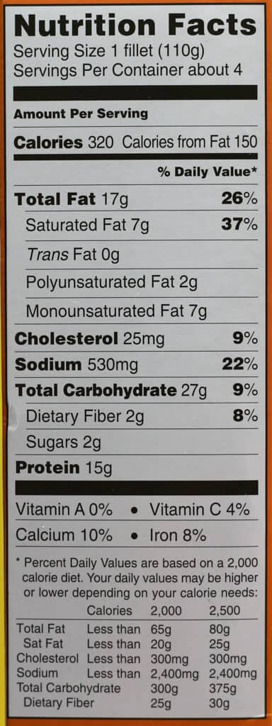 Trader Joe's Panko Breaded Tilapia Fillets nutritional information
