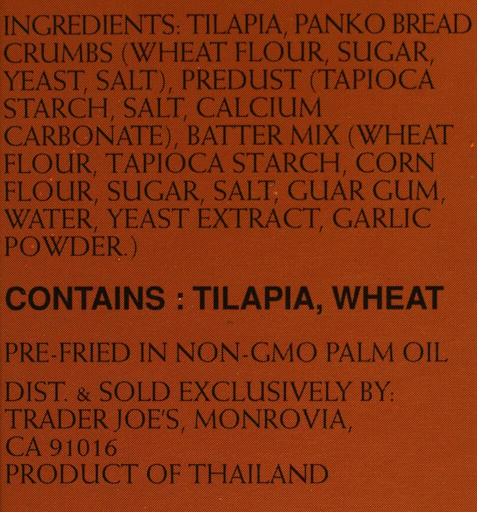 Trader Joe's Panko Breaded Tilapia Fillets ingredient list
