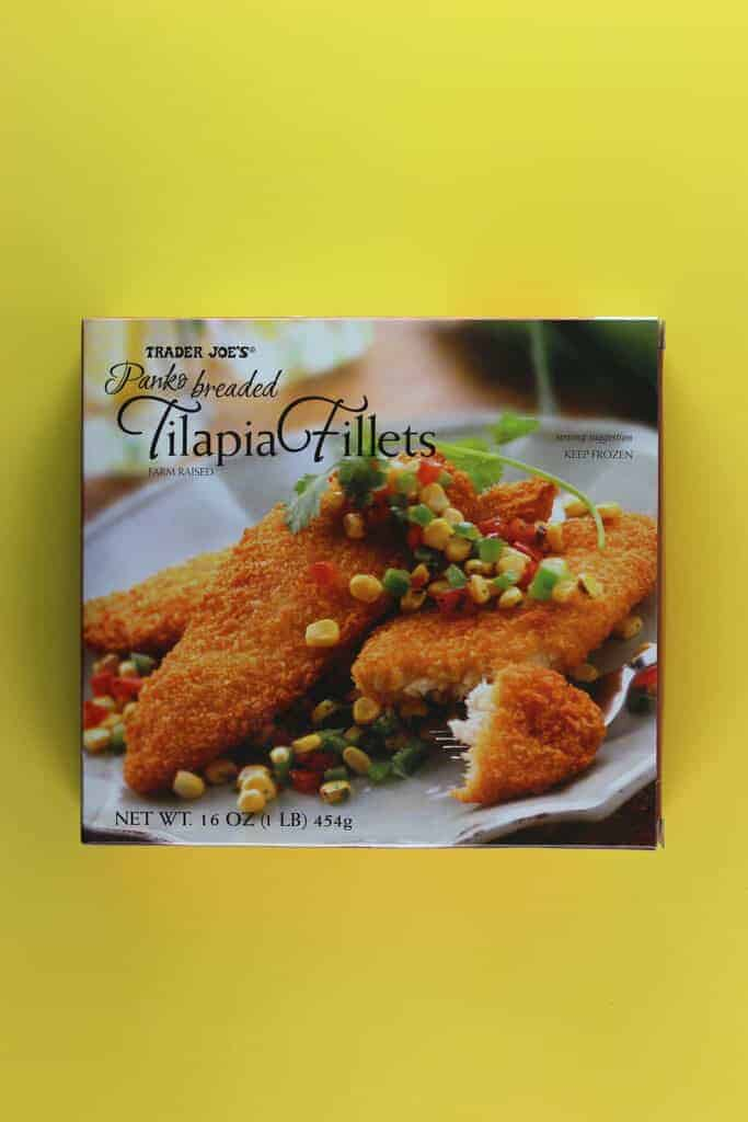 An unopened box of Trader Joe's Panko Breaded Tilapia Fillets