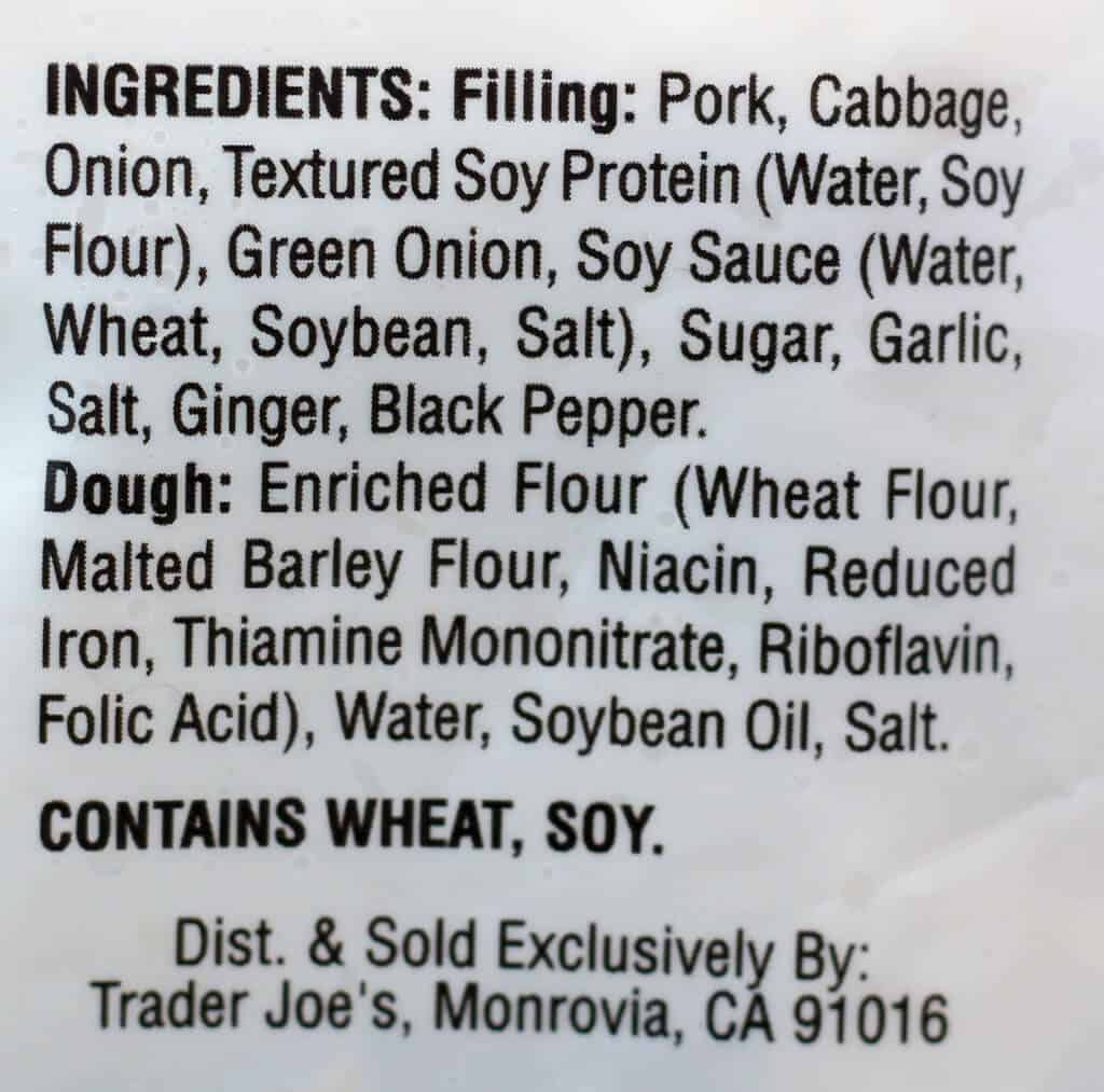 Trader Joe's Pork Gyoza Potstickers ingredients