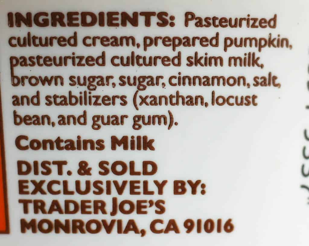 Trader Joe's Pumpkin Cream Cheese Spread ingredients