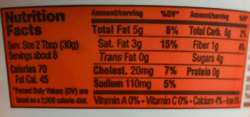 Trader Joe's Pumpkin Cream Cheese Spread nutritional information