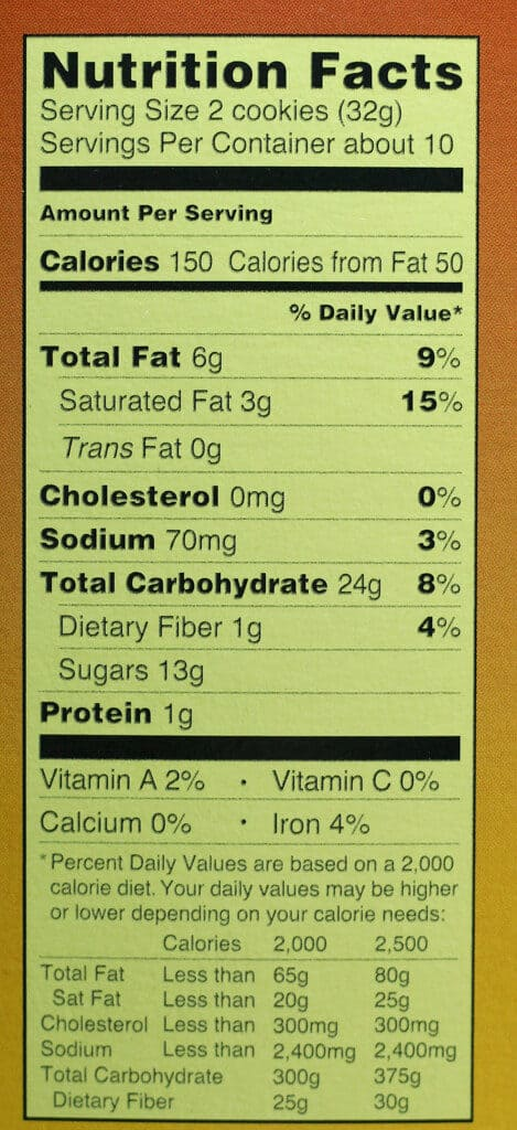 Trader Joe's Pumpkin Joe Joe's nutritional information