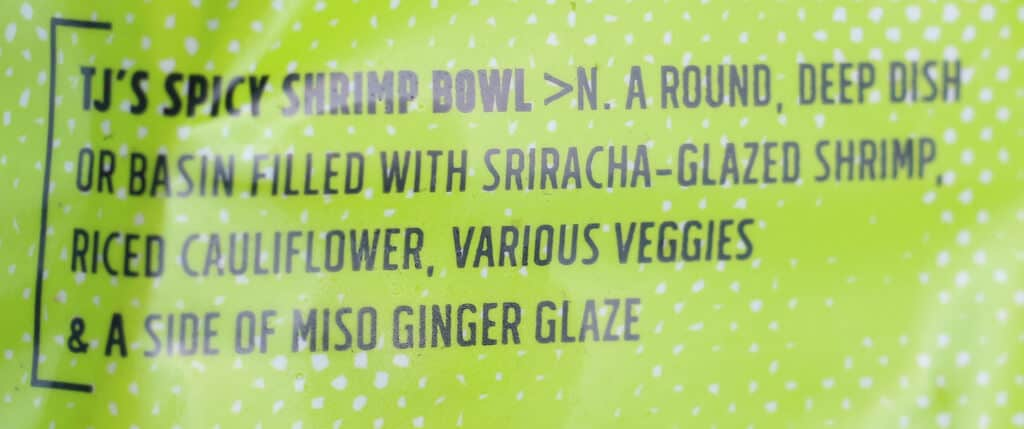 Trader Joe's Spicy Shrimp Bowl with Riced Cauliflower description