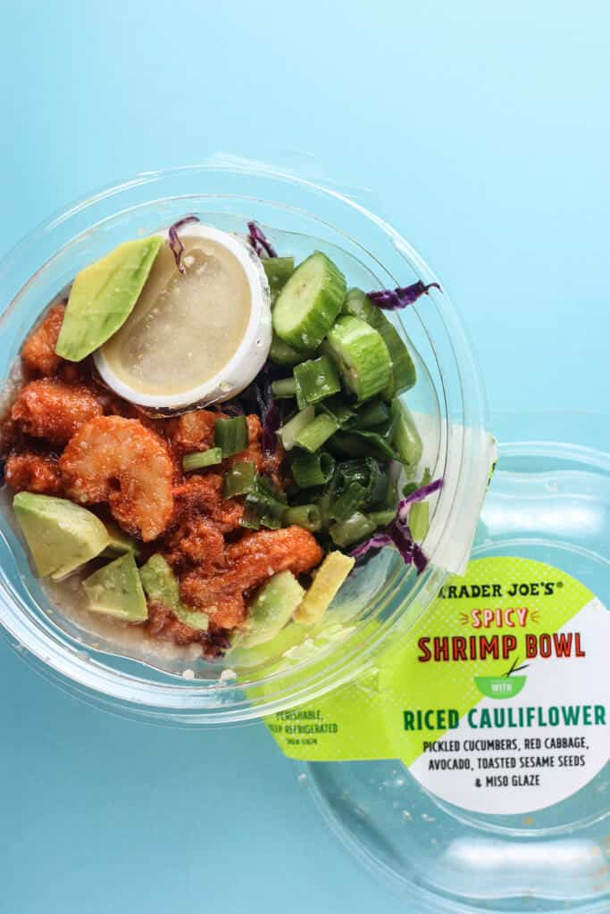 Trader Joe's Spicy Shrimp Bowl with Riced Cauliflower showing the contents of the plastic container