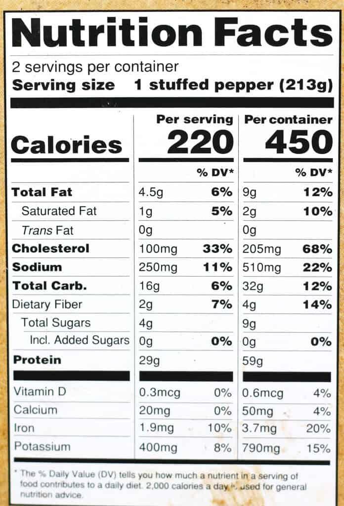 Trader Joe's Stuffed Peppers nutritional information