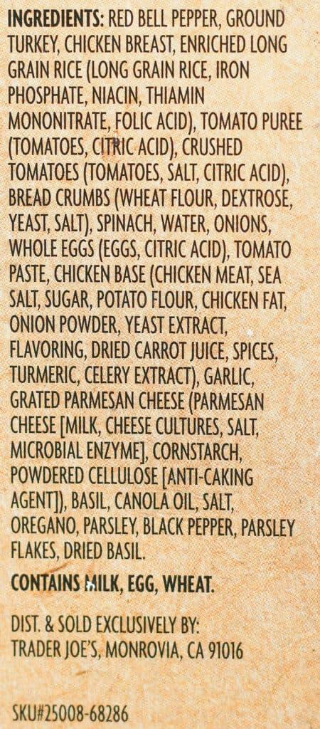 Trader Joe's Stuffed Peppers ingredients
