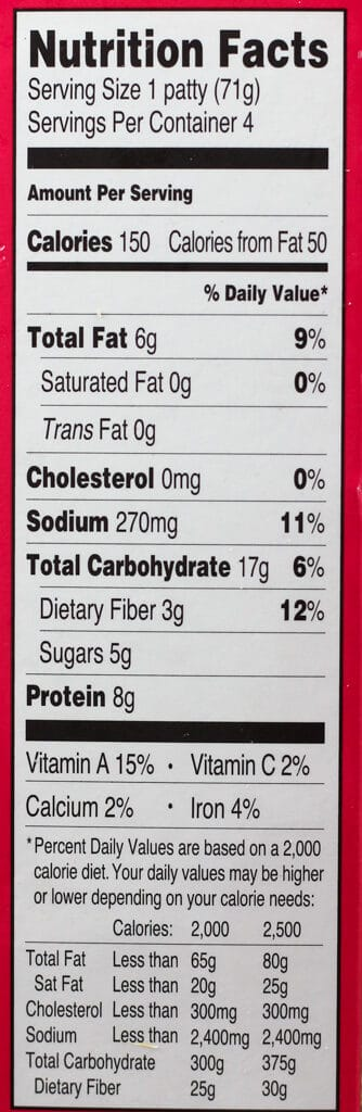 Trader Joe's Thai Sweet Chili Veggie Burger nutritional information