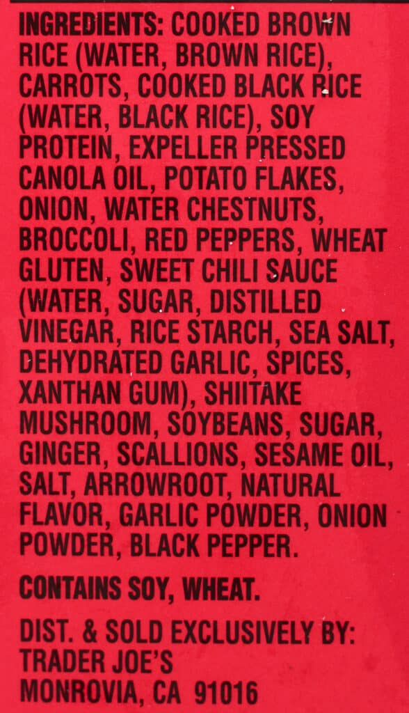 Trader Joe's Thai Sweet Chili Veggie Burger ingredients