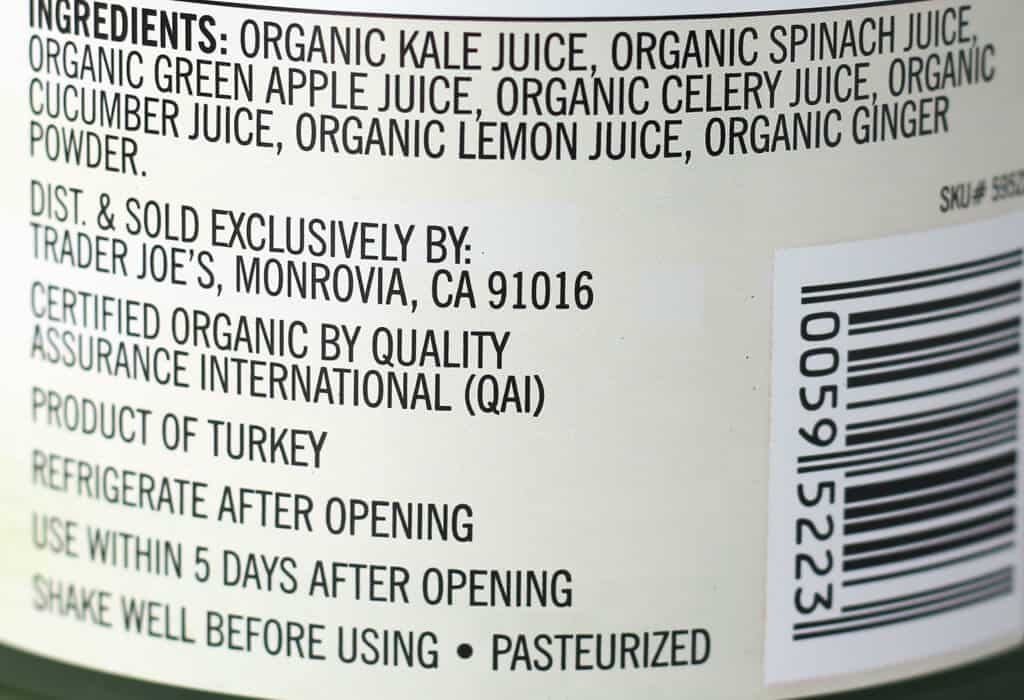 Trader Joe's To the Power of Seven Green Organic Juice Blend ingredients