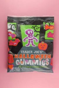 An unopened bag of Trader Joe's Halloween Gummies