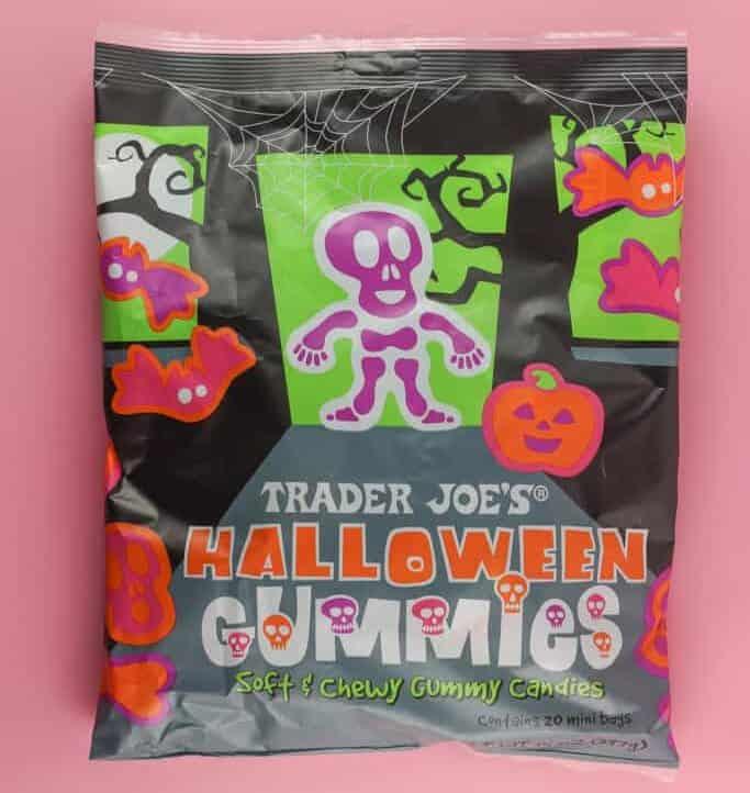 An unopened bag of Trader Joe's Halloween Gummies