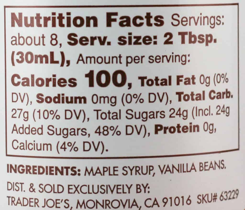 Trader Joe's Vanilla Bean Infused Vermont Maple Syrup nutritional and ingredient information