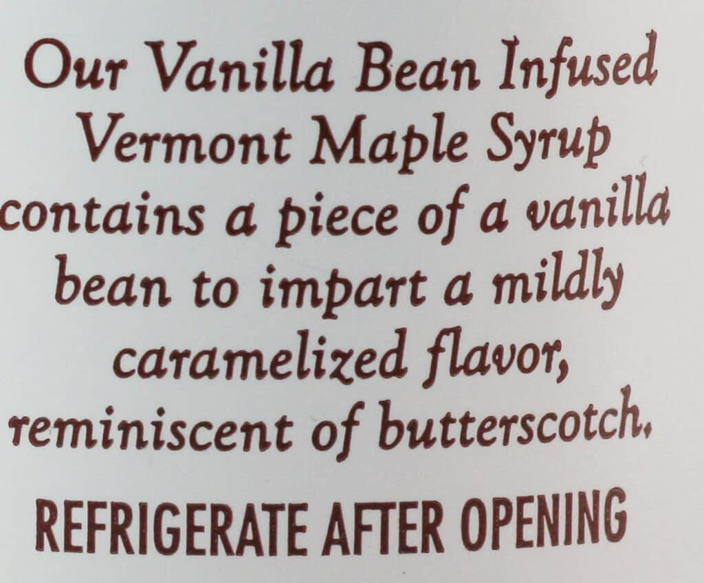 Trader Joe's Vanilla Bean Infused Vermont Maple Syrup description