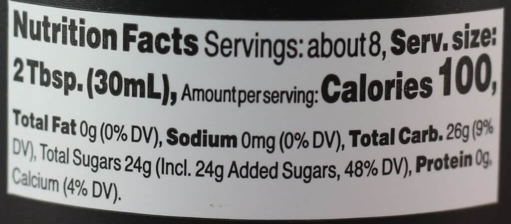 Trader Joe's Vermont Ghosted Maple Syrup nutritional information
