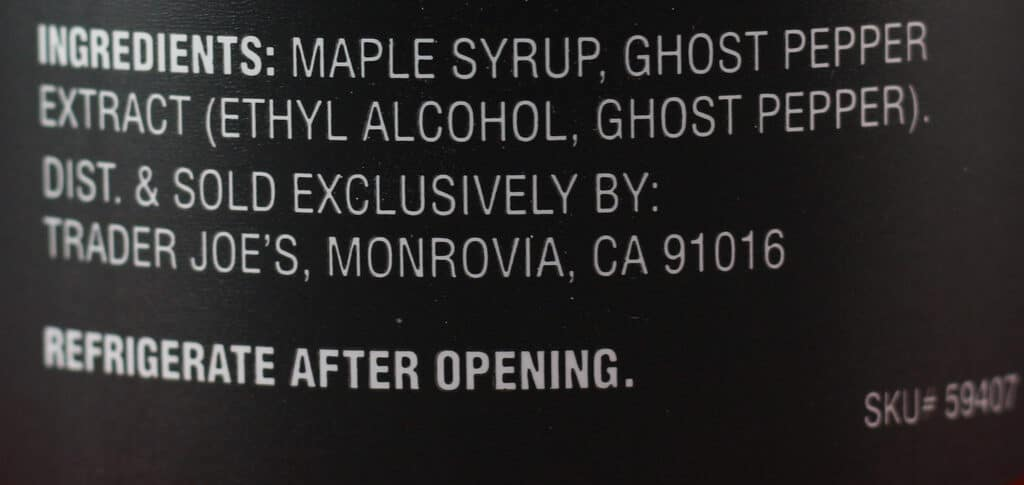 Trader Joe's Vermont Ghosted Maple Syrup ingredients