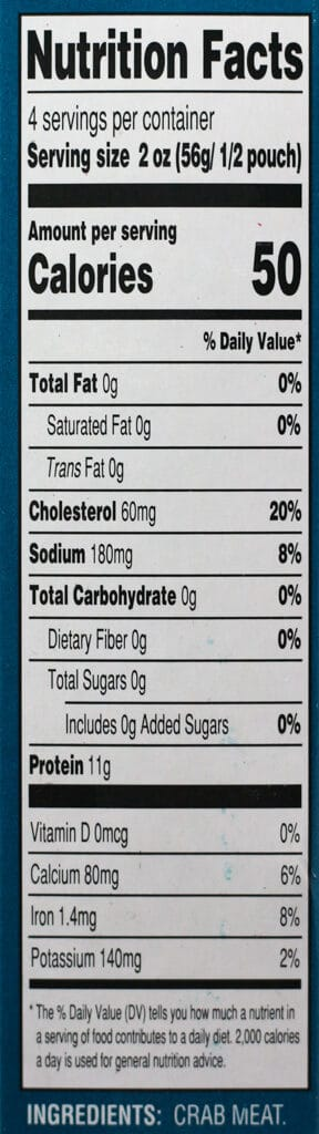 Trader Joe's Wild Caught Crab Meat nutritional information and ingredient list