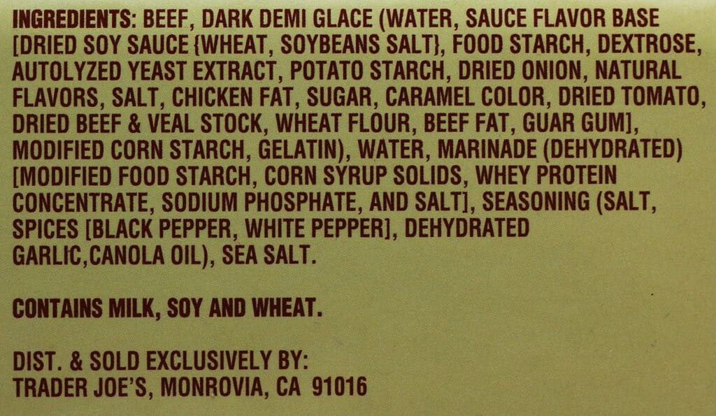 Trader Joe's Braised Beef Roast with Demi Glace ingredient list