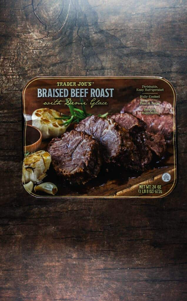 An unopened package of Trader Joe's Braised Beef Roast with Demi Glace
