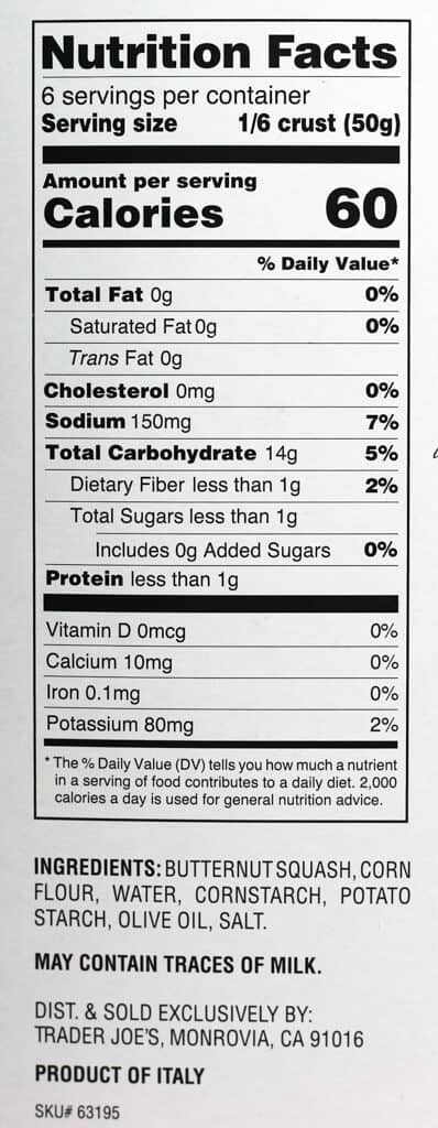 Trader Joe's Butternut Squash Pizza Crust nutritional facts, calories, and ingredients