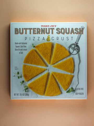 An unopened box of Trader Joe's Butternut Squash Pizza Crust