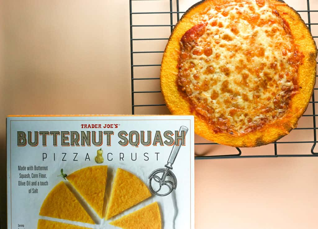 Trader Joe's Butternut Squash Pizza Crust fully cooked and next to the original empty box