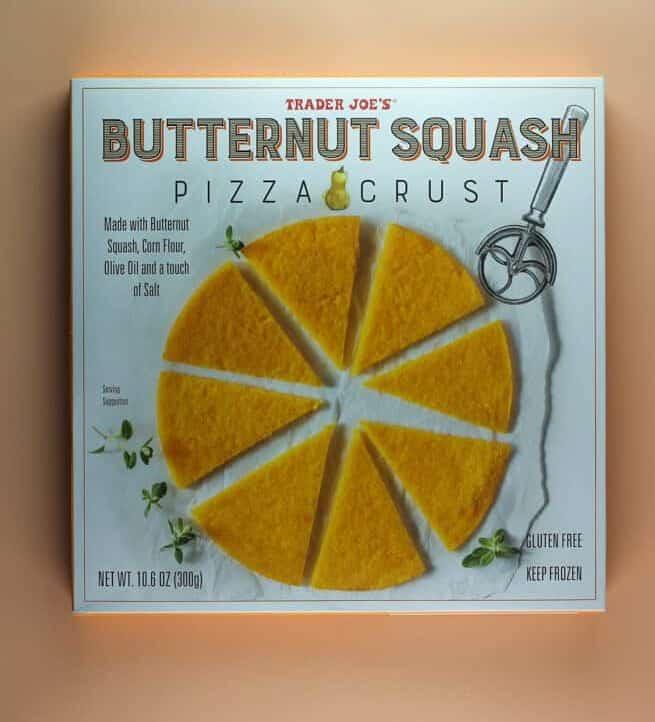 An unopened box of Trader Joe's Butternut Squash Pizza Crust