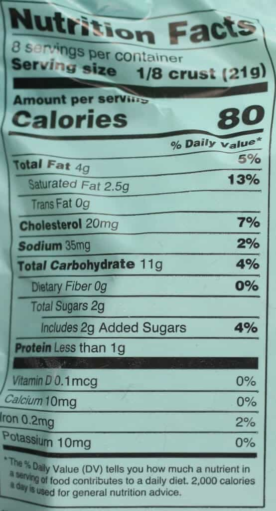 Calories and nutritional facts for Trader Joe's Gluten Free Pie Crust