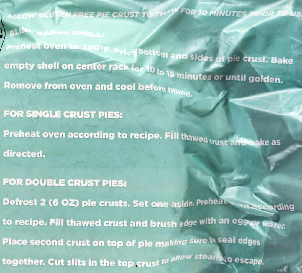 Directions on how to properly prepare Trader Joe's Gluten Free Pie Crust