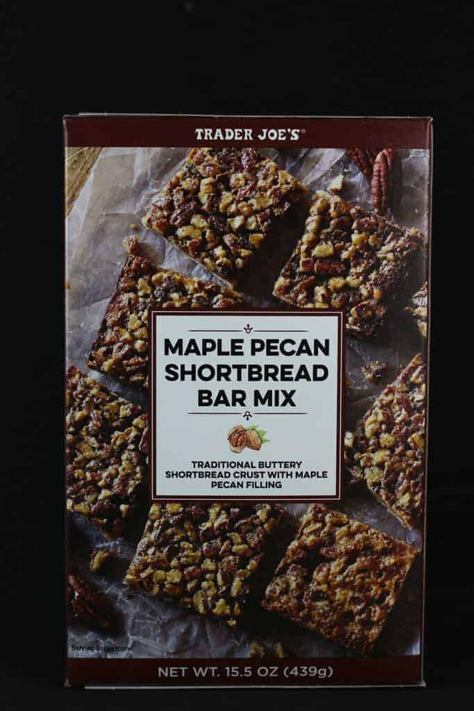 An unopened box of Trader Joe's Maple Pecan Shortbread Bar Mix