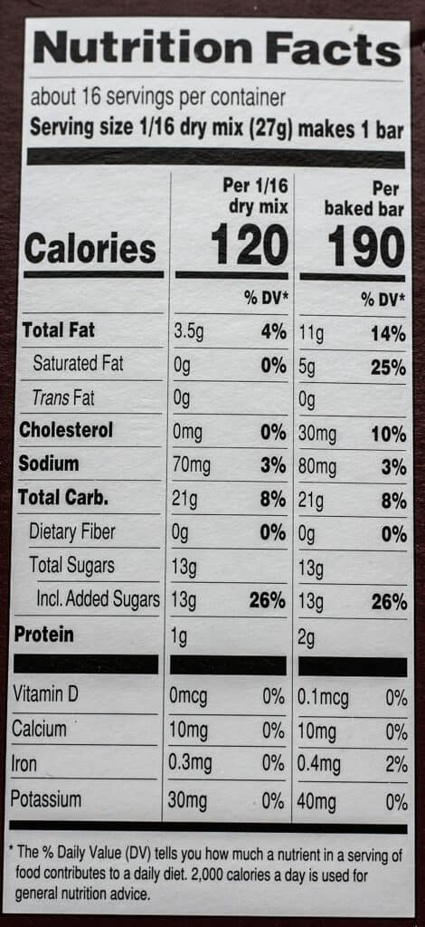 Calories and Nutritional information for Trader Joe's Maple Pecan Shortbread Bar Mix