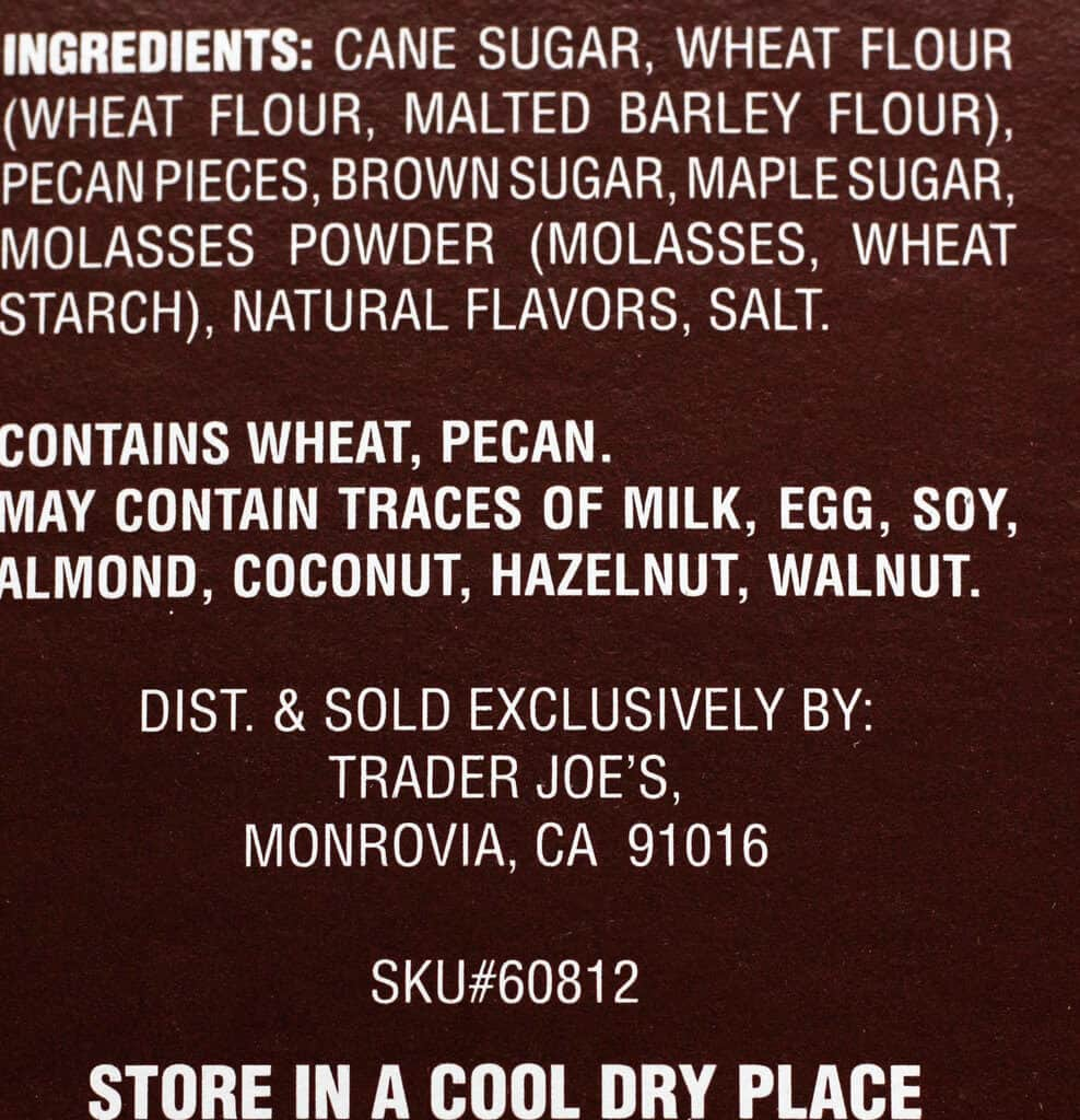 The ingredients in Trader Joe's Maple Pecan Shortbread Bar Mix