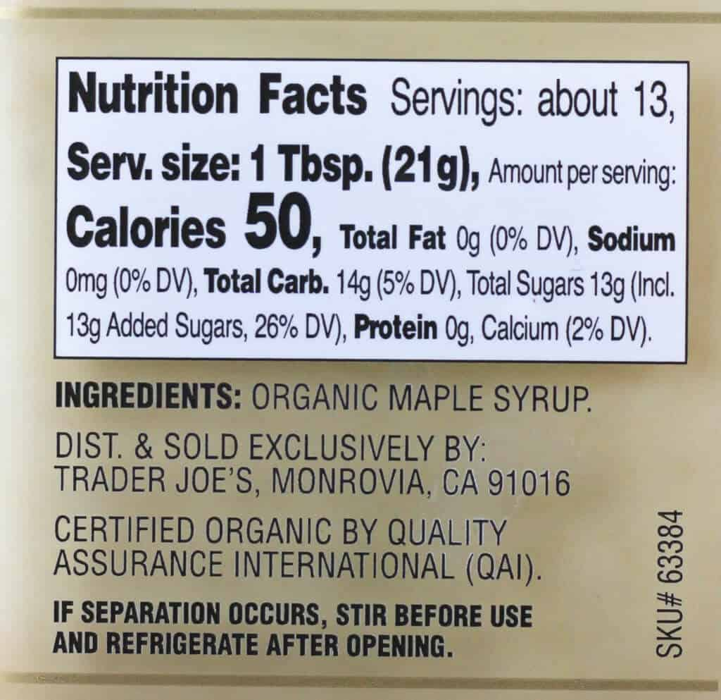 Trader Joe's Organic Maple Butter nutritional information and ingredient list