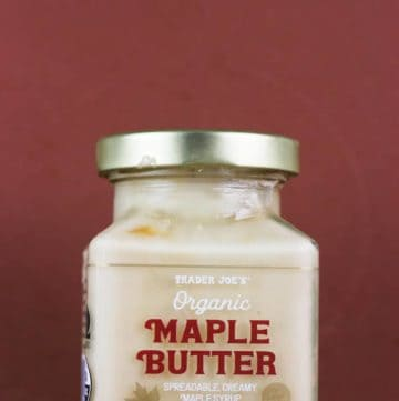 An unopened jar of Trader Joe's Organic Maple Butter