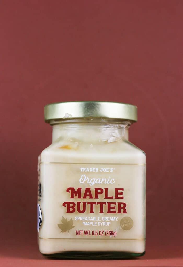 An unopened jar of Trader Joe's Organic Maple Butter
