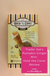 Trader Joe's Mini Hold the Cone Pumpkin Ginger Ice Cream Cones image for Pinterest